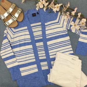 Rafaella Blue & White Stripe Cardigan, L